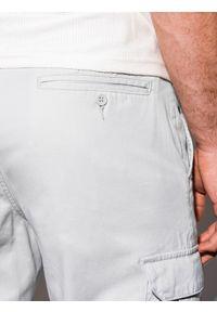 Ombre Clothing - Spodnie męskie joggery P893 - szare - XXL. Kolor: szary. Materiał: bawełna, elastan. Wzór: aplikacja #3