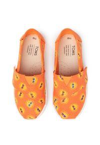 Pomarańczowe półbuty Toms z nadrukiem, z cholewką, na rzepy, na spacer