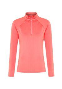 Pomarańczowy sweter Descente elegancki, krótki, z golfem, raglanowy rękaw