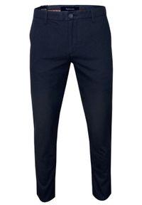 Rigon - Granatowe Casualowe Męskie Spodnie -RIGON- Zwężane, Bawełniane z Lycrą, Chinosy. Okazja: na co dzień. Kolor: niebieski. Materiał: lycra, bawełna. Styl: casual