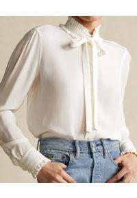 Ralph Lauren - RALPH LAUREN - Lniana koszula z falbanką. Typ kołnierza: polo. Kolor: biały. Materiał: len. Długość rękawa: długi rękaw. Długość: długie. Wzór: aplikacja. Styl: klasyczny