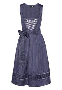 Sukienka ludowa z haftowanym fartuchem z satyny bonprix jagodowo-fiołkowy wzorzysty. Kolor: niebieski. Materiał: satyna. Wzór: haft. Styl: elegancki