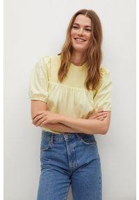 Żółta bluzka mango krótka, gładkie, z krótkim rękawem, casualowa