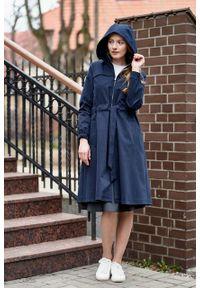 Marie Zélie - Parka Linda bawełna z elastanem granatowa. Kolor: niebieski. Materiał: elastan, bawełna. Długość: długie. Sezon: lato