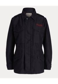 Czarna kurtka Ralph Lauren z haftami, długa, z długim rękawem, polo