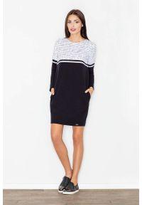 Figl - Szaro-Czarna Sukienka Pudełkowa Górą. Kolor: szary, wielokolorowy, czarny. Materiał: elastan, bawełna
