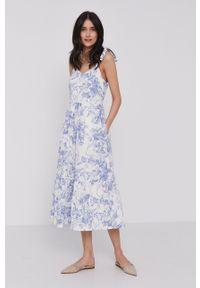 GAP - Sukienka. Kolor: biały. Materiał: tkanina. Długość rękawa: na ramiączkach. Typ sukienki: rozkloszowane