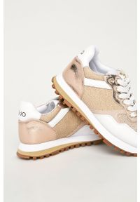Beżowe buty sportowe Liu Jo na sznurówki, na średnim obcasie, na obcasie