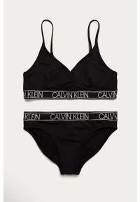 Czarny strój dwuczęściowy Calvin Klein z odpinanymi ramiączkami, z nadrukiem