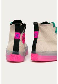 Szare tenisówki Converse na sznurówki, z okrągłym noskiem, z cholewką, na średnim obcasie