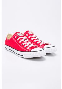 Czerwone niskie trampki Converse z cholewką, na sznurówki, z okrągłym noskiem