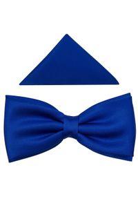 Modini - Niebieska/kobaltowa szeroka mucha męska B22. Kolor: niebieski. Materiał: tkanina, poliester. Styl: elegancki