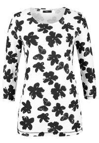 T-shirt z nadrukiem, rękawy 3/4 bonprix biało-czarny w kwiaty. Kolor: biały. Wzór: kwiaty, nadruk