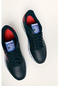 Niebieskie sneakersy Reebok Classic z okrągłym noskiem, na sznurówki, z cholewką