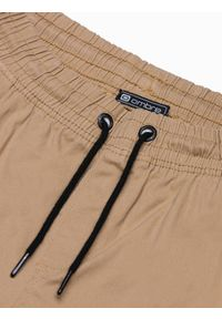Ombre Clothing - Spodnie męskie joggery P885 - camel - XXL. Materiał: bawełna, elastan. Styl: klasyczny