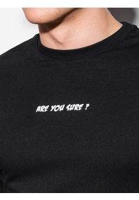 Ombre Clothing - Bluza męska bez kaptura z nadrukiem B1215 - czarna - XXL. Typ kołnierza: bez kaptura. Kolor: czarny. Materiał: bawełna, poliester. Wzór: nadruk #4
