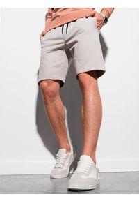 Ombre Clothing - Krótkie spodenki męskie dresowe W291 - szare - XXL. Kolor: szary. Materiał: dresówka. Długość: krótkie. Styl: klasyczny