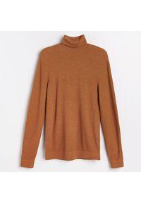 Brązowy sweter Reserved klasyczny, z klasycznym kołnierzykiem