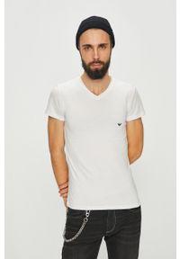 Emporio Armani Underwear - Emporio Armani - T-shirt. Kolor: biały. Materiał: dzianina