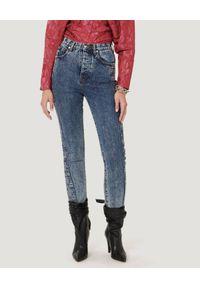 IRO - Granatowe jeansy z przeszyciami Gismond. Stan: podwyższony. Kolor: niebieski. Długość: długie