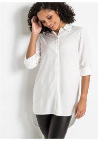 Biała bluzka bonprix długa, w koronkowe wzory