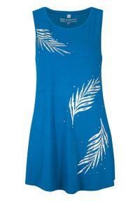 Długi top bonprix lazurowy niebieski - srebrny. Kolor: niebieski. Długość: długie