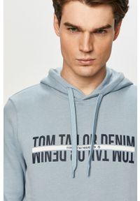 Niebieska bluza nierozpinana Tom Tailor na co dzień, casualowa, z kapturem, z nadrukiem