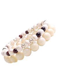 Sis&Me - TROY Zestaw bransoletek z kamieni na gumce kremowa unisex. Kolor: kremowy. Kamień szlachetny: jadeit, jaspis