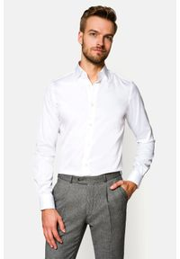 Lancerto - Koszula Giovani. Okazja: na spotkanie biznesowe. Kolor: biały. Materiał: bawełna, jedwab, tkanina, wełna. Wzór: ze splotem, gładki. Styl: sportowy, wizytowy, biznesowy