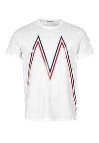 MONCLER - Biała koszulka z bawełny. Kolor: biały. Materiał: bawełna. Wzór: aplikacja. Sezon: jesień, zima. Styl: klasyczny