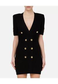 Elisabetta Franchi - ELISABETTA FRANCHI - Czarna mini sukienka ze złotymi guzikami. Kolor: czarny. Materiał: tkanina, wiskoza. Wzór: aplikacja. Styl: elegancki. Długość: mini