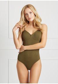 Saintmiss - Klasyczne body na ramiączkach // Tamara - XL, Zielony. Kolor: zielony. Materiał: bawełna, materiał, koronka, prążkowany, włókno, skóra. Wzór: gładki