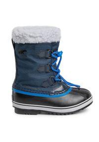 Niebieskie śniegowce sorel z cholewką, na spacer
