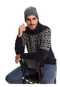 TOP SECRET - Sweter golf we wzór. Typ kołnierza: golf. Kolor: niebieski. Materiał: materiał. Długość: długie. Sezon: zima