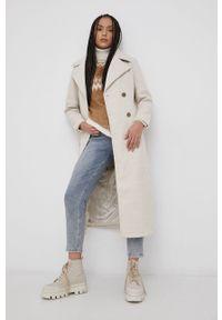 Y.A.S - Płaszcz z wełną. Okazja: na co dzień. Kolor: beżowy. Materiał: wełna. Styl: klasyczny, casual