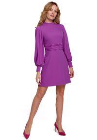 MOE - Rozkloszowana Sukienka z Drapowanym Paskiem - Lawendowa. Kolor: fioletowy. Materiał: poliester, elastan