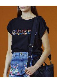 Ermanno Firenze - ERMANNO FIRENZE - Czarny t-shirt z kolorowym haftem. Okazja: na co dzień. Kolor: czarny. Materiał: bawełna. Długość: długie. Wzór: kolorowy, haft. Styl: casual