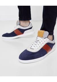 TOD'S - Kolorowe sneakersy z logo. Okazja: na co dzień. Kolor: szary. Materiał: zamsz, guma. Wzór: kolorowy. Obcas: na płaskiej podeszwie