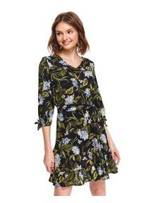 Czarna sukienka TOP SECRET w kolorowe wzory, na lato, z krótkim rękawem
