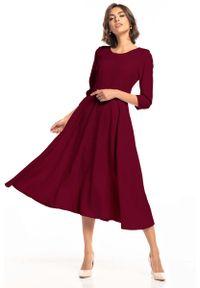Tessita - Rozkloszowana Sukienka do Połowy Łydki - Burgundowa. Kolor: czerwony. Materiał: bawełna, elastan