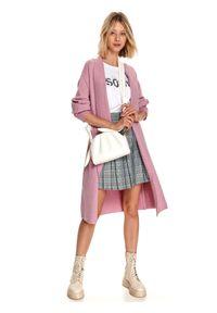 TOP SECRET - Krótka, plisowana spódnica w kratę. Okazja: do pracy, na co dzień. Kolor: czarny. Materiał: dzianina. Długość: krótkie. Sezon: jesień. Styl: casual