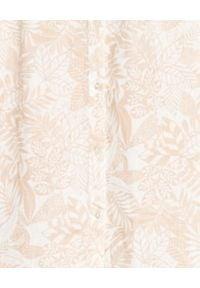 HEMISPHERE - Beżowa sukienka we wzory. Kolor: beżowy. Materiał: len, materiał. Wzór: kwiaty. Sezon: lato, wiosna. Długość: midi