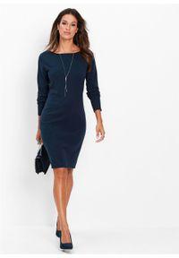 Sukienka dzianinowa bonprix ciemnoniebieski. Kolor: niebieski. Materiał: dzianina. Długość rękawa: długi rękaw. Wzór: gładki