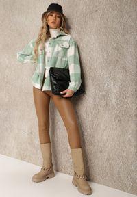 Renee - Jasnozielona Koszula Erelim. Kolor: zielony. Długość rękawa: długi rękaw. Długość: długie. Wzór: gładki, aplikacja. Styl: vintage