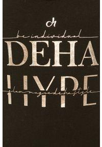 Czarny top Deha z nadrukiem, casualowy, na co dzień