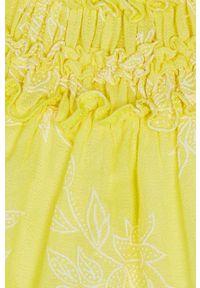 Żółta sukienka Mayoral rozkloszowana, z krótkim rękawem