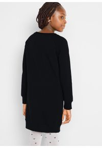 Sukienka dresowa dziewczęca z bawełny organicznej bonprix czarny. Kolor: czarny. Materiał: bawełna, dresówka. Wzór: nadruk #5