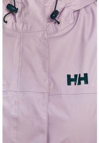 Fioletowa kurtka Helly Hansen z kapturem, z nadrukiem, na co dzień, casualowa