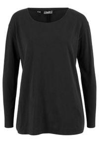 Luźniejszy shirt z długim rękawem bonprix czarny. Kolor: czarny. Długość rękawa: długi rękaw. Długość: długie