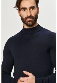 Niebieski sweter Premium by Jack&Jones casualowy, z długim rękawem, długi, na co dzień